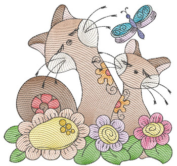 """Cat 6 (No Quilt Block Background) -Fits a  4x4"""", 5x7""""&  8x8"""" Hoop - Machine Embroidery Designs"""