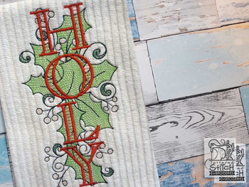 "30% Off - Holly Design W Words Bundle - Fits a 5x7""  Hoop - Machine Embroidery Designs"