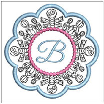 "Snowflake Coaster ABCs - B - Fits a   4x4"" Hoop - Machine Embroidery Designs"