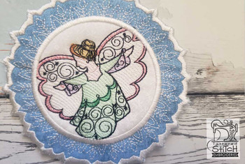 "Angel Snowflake Coaster - Fits a 5x7"" Hoop - Machine Embroidery Designs"