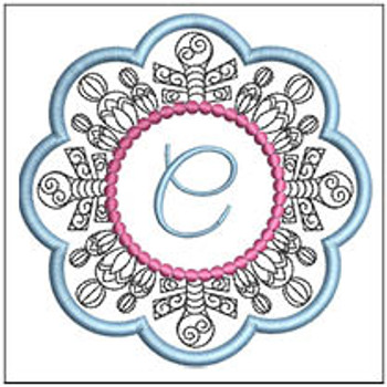 "Snowflake Coaster ABCs - C - Fits a   4x4"" Hoop - Machine Embroidery Designs"