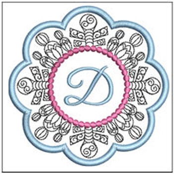 "Snowflake Coaster ABCs - D - Fits a   4x4"" Hoop - Machine Embroidery Designs"