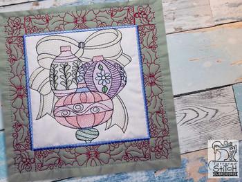 "Ornament Trio Quilt Block #2 - Fits a  5x5"", 6x6"", 7x7"", 8x8"" & 10x10""  Hoop - Machine Embroidery Designs"