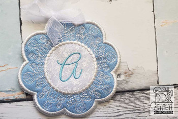 "Snowflake Coaster ABCs - E - Fits a   4x4"" Hoop - Machine Embroidery Designs"