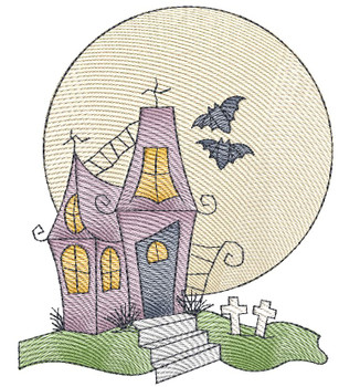 "Haunted House (No Quilt Block Background) - Fits a  4x4"", 5x7"" &  8x8"" Hoop - Machine Embroidery Designs"