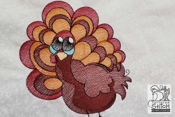 "Turkey- Fits a  4x4"", 5x7"" &  8x8"" Hoop - Machine Embroidery Designs"