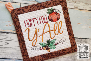 "Happy Fall Pot Holder- Fits an 8x8"" Hoop - Machine Embroidery Designs"
