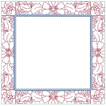 """Holly Border Quilt Block - Fits a  5x5"""", 6x6"""", 7x7"""", 8x8"""" & 10x10""""  Hoop - Machine Embroidery Designs"""