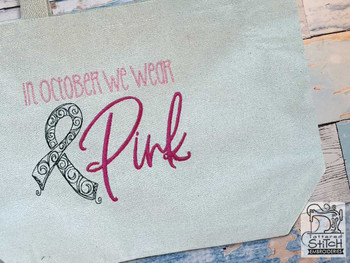 "October Pink - Fits an 4x4"", 5x7"" & 8x8"" Hoop - Machine Embroidery Designs"