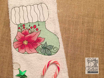 "Poinsettia Stocking - Fits a 4x4"", 5x7"" & 8x8"" Hoop - Machine Embroidery Designs"
