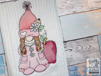 "School Girl Gnome - Fits a  4x4"", 5x7"" &  8x8"" Hoop - Machine Embroidery Designs"