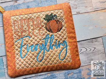 "Pumpkin Spice Everything Pot Holder- Fits an 8x8"" Hoop - Machine Embroidery Designs"