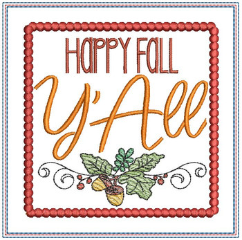 "Happy Fall Y'All Coaster - Fits a 5x7"" Hoop - Machine Embroidery Designs"