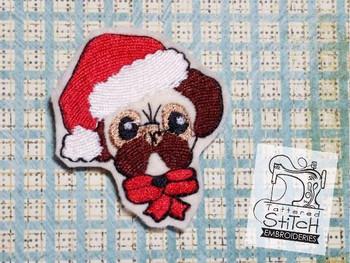 Christmas Pug Feltie - Embroidery Designs