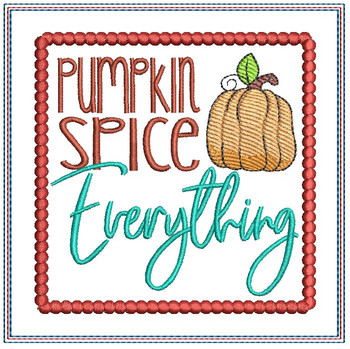 "Pumpkin Spice Everything Coaster - Fits a 5x7"" Hoop - Machine Embroidery Designs"