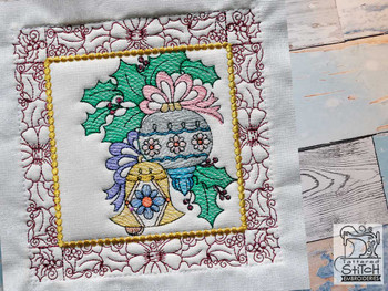 """Ornament Duo Quilt Block #3 - Fits a  5x5"""", 6x6"""", 7x7"""", 8x8"""" & 10x10""""  Hoop - Machine Embroidery Designs"""
