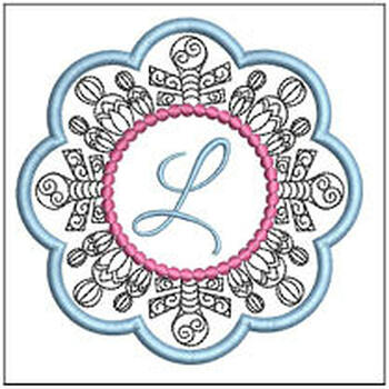 "Snowflake Coaster ABCs - L - Fits a   4x4"" Hoop - Machine Embroidery Designs"