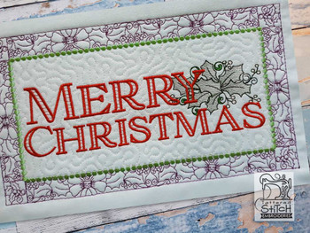 """Merry Christmas Block #3 - Fits a  6x10"""", 8x12""""  & 8x14""""  Hoop - Machine Embroidery Designs"""