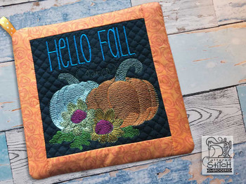 "Hello Fall Pot Holder- Fits an 8x8"" Hoop - Machine Embroidery Designs"