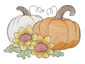 "Pumpkins with Sunflowers   - Fits a  4x4"", 5x7"" & 8x8"" Hoop - Machine Embroidery Designs"