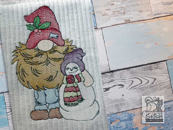"Gnome with Snowman - Fits a  4x4"", 5x7"" &  8x8"" Hoop - Machine Embroidery Designs"
