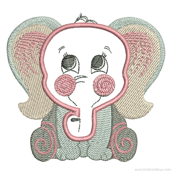 Curious Baby Elephant - Embroidery Designs