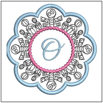 "Snowflake Coaster ABCs - O - Fits a   4x4"" Hoop - Machine Embroidery Designs"