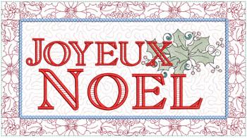 "Joyeux Noel Block  - Fits a  6x10"", 8x12""  & 8x14""  Hoop - Machine Embroidery Designs"