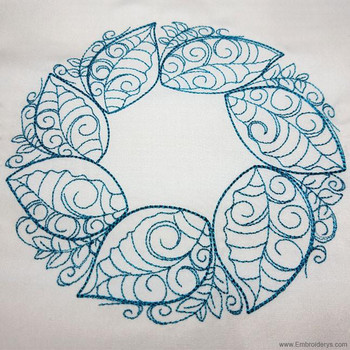 Elegant Spring Leaf Wreath - Embroidery Designs