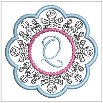 "Snowflake Coaster ABCs - Q - Fits a   4x4"" Hoop - Machine Embroidery Designs"