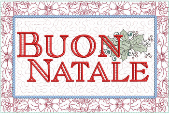 """Buon Natale Block - Fits a  6x10"""", 8x12""""  & 8x14""""  Hoop - Machine Embroidery Designs"""