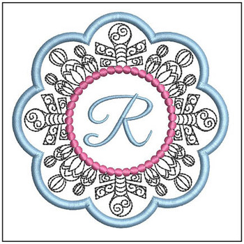 "Snowflake Coaster ABCs - R - Fits a   4x4"" Hoop - Machine Embroidery Designs"