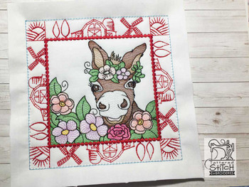 "Farm Animals - Donkey Quilt Block #7  - Fits a 5x5"", 6x6"", 7x7"", 8x8"" & 10x10""  Hoop - Machine Embroidery Designs"