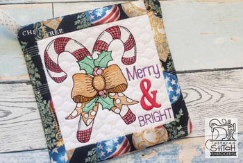 """Merry & Bright Pot Holder- Fits a 6x6"""" & 8x8"""" Hoop - Machine Embroidery Designs"""