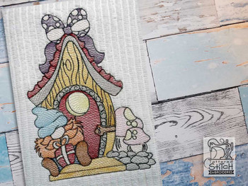 """Gnome on Porch - Fits a  4x4"""", 5x7"""" &  8x8"""" Hoop - Machine Embroidery Designs"""