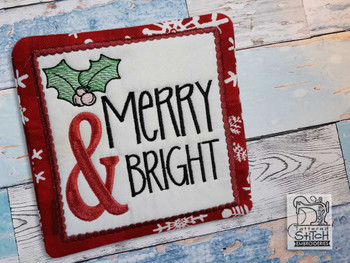 "Merry & Bright Coaster - Fits a 5x7"" Hoop - Machine Embroidery Designs"