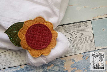 "Sunflower Napkin Ring - Fits a 4x4"" Hoop - Machine Embroidery Designs"