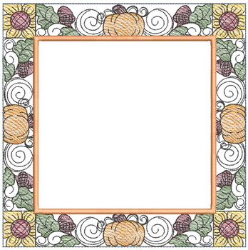 "Fall Background Quilt Block- Fits a 5x5"", 6x6"", 7x7"", 8x8"" & 10x10""  Hoop - Machine Embroidery Designs"