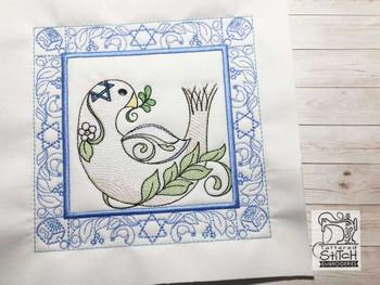 "Hanukkah Dove Quilt Block- Fits a 5x5"", 6x6"", 7x7"", 8x8"" & 10x10""  Hoop - Machine Embroidery Designs"