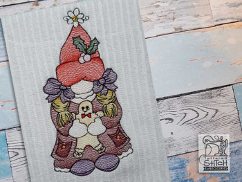 """Gnome Holding Gingerbread Man - Fits a  4x4"""", 5x7"""" &  8x8"""" Hoop - Machine Embroidery Designs"""