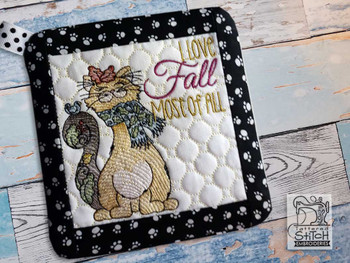 "Love Fall Pot Holder- Fits a 6x6"" & 8x8"" Hoop - Machine Embroidery Designs"