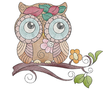 """Whimsical Owl - Fits a  4x4"""", 5x7"""" &  8x8"""" Hoop - Machine Embroidery Designs"""