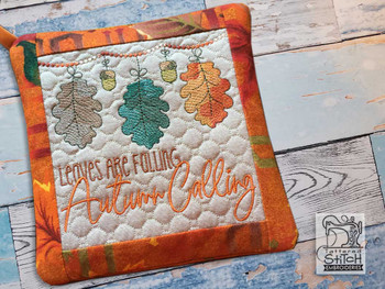 "Autumn Calling Pot Holder- Fits a 6x6"" & 8x8"" Hoop - Machine Embroidery Designs"
