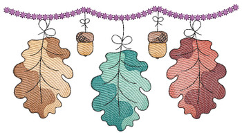 "Dangling Oak Leaves - Fits a  4x4"", 5x7"" &  6x10"" Hoop - Machine Embroidery Designs"