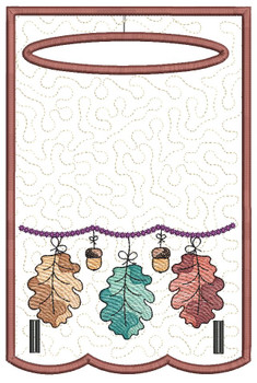 "Dangling Oak Leaves Towel Topper - Fits a 5x7"" & 6x10"" Hoop - Machine Embroidery Designs"