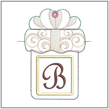 "Present Gift Card Holder ABCs - B - Fits a   5x7"" Hoop - Machine Embroidery Designs"
