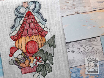 """Holiday Birdhouse with Gnome - Fits a  4x4"""", 5x7"""" &  6x10"""" Hoop - Machine Embroidery Designs"""