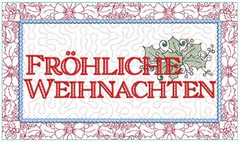 """Frohliche Weihnachten Block - Fits a  6x10"""", 8x12""""  & 8x14""""  Hoop - Machine Embroidery Designs"""