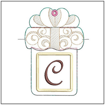 "Present Gift Card Holder ABCs - C - Fits a   5x7"" Hoop - Machine Embroidery Designs"