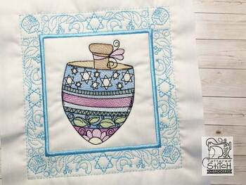 "Dreidel Quilt Block- Fits a 5x5"", 6x6"", 7x7"", 8x8"" & 10x10""  Hoop - Machine Embroidery Designs"
